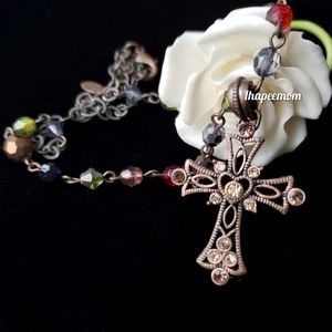 Bronze Cross Necklace Genuine Chrystal